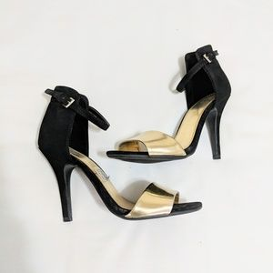 Shoes - Black and Gold Strap Open Toe Heels